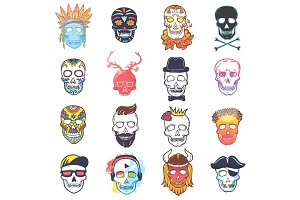 Skull vector mexican dead head and crossbones and human tattoo illustration thick-skulled set of horror symbol of death or evil in Mexico isolated on white background