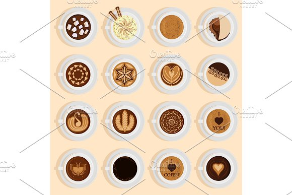 Vector Coffe Top View Realistic Drink Different Coffee Recipe Like Cappuccino Chocolate Latte On Cup Blackboard Coffee Cups For Menu Assortment Top Side Collection Aromatic Beverage