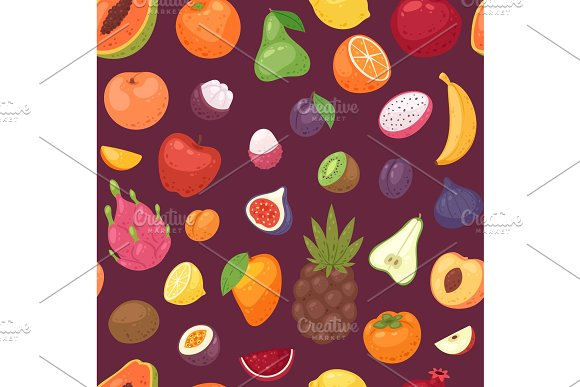 Fruits Vector Fruity Apple Banana And Exotic Papaya With Fresh Slices Of Tropical Dragonfruit Or Juicy Orange Illustration Fruitful Set Seamless Pattern Background