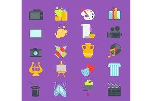 Artistic creator graphic designer icons vector set flat design illustration. Camera, picture, brush palette entertainment symbols. Artist ink graphic color creativity design movie collection.