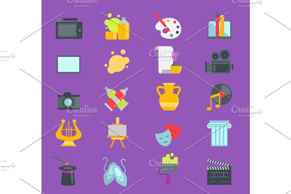 Artistic Creator Graphic Designer Icons Vector Set Flat Design Illustration Camera Picture Brush Palette Entertainment Symbols Artist Ink Graphic Color Creativity Design Movie Collection