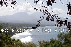 Tropical landscape, mountain view, ocean. Bali island.