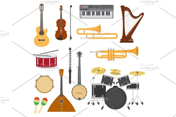 Musical Instruments Vector Music Concert With Acoustic Guitar Or Balalaika And Musicians Violin Or Harp Illustration Set Wind Instruments Trumpet And Flute Isolated On White Background