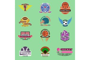 Sport badge template teams or clubs school balls and vector shooes symbols. Tournament competition graphic champion badge set. Football soccer, hockey, baseball, voleyball club game embleme