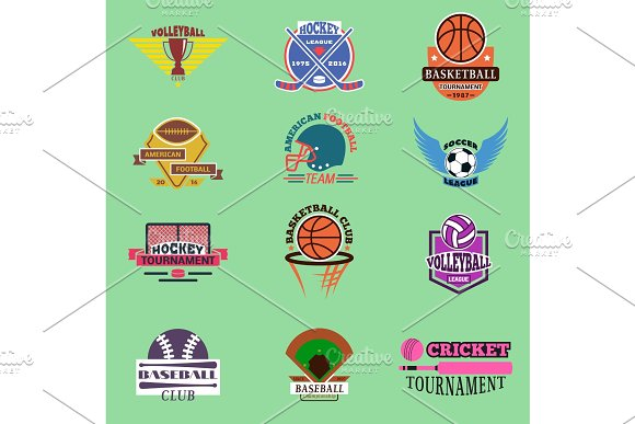 Sport Badge Template Teams Or Clubs School Balls And Vector Shooes Symbols Tournament Competition Graphic Champion Badge Set Football Soccer Hockey Baseball Voleyball Club Game Embleme