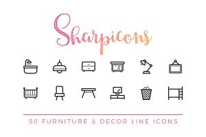 Furniture & Decor Line Icons