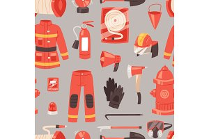Firefighter vector firefighting equipment firehose hydrant and fire extinguisher illustration set of fireman uniform with helmet isolated seamless pattern background
