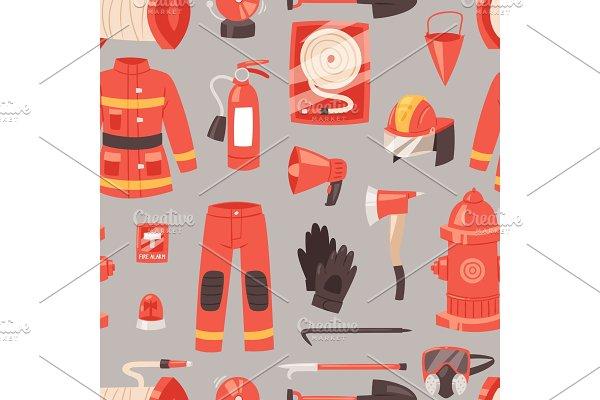 Vector seamless pattern firefighter ~ Illustrations