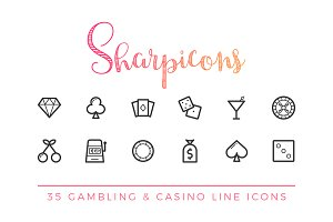 Gambling & Casino Line Icons
