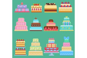 Wedding flat cake pie vector sweets dessert bakery flat simple style illustration fresh tasty dessert sweet pastry pie gourmet homemade delicious cream traditional bakery tart