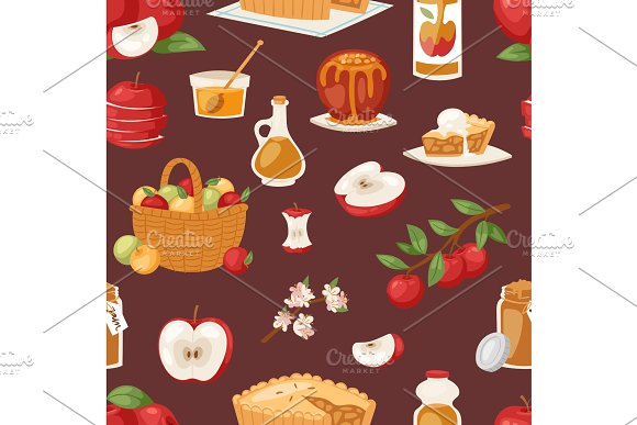 Apples Vector Healthy Applepie With Jam And Applejuice From Fresh Fruits In Garden With Appletrees Illustration Of Set Seamless Pattern Background