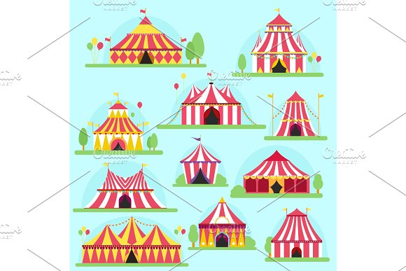 Circus Vector Tent Facade Marquee Marquee Stripes Flags Carnival Entertainment Balloons Lelements Flat Illustration Circus Red Tents Entertainment Carnival Festival Park Arena Celebration