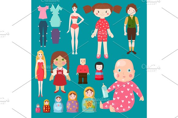 Vector Dolls Toy Character Girls And Boys Human Face And Body Game Dress Rag-doll Illustration Pretty Underwear Little Baby Girl Kids Matryoshka Doll Toy Dummy Model Style