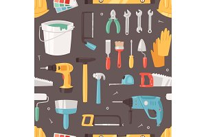 Construction equipment vector constructive tools of builder or constructor with hammer and screwdriver illustration of carpenters toolbox set seamless pattern background