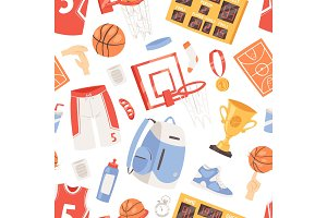 Basketball vector sportswear and ball in net hoop on basketball court illustration set of sportsman clothes for gym seamless pattern background