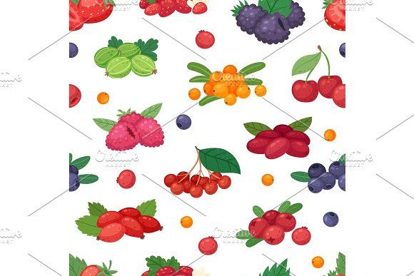 Berry Vector Berrying Mix Of Strawberry Blueberry Raspberry Blackberry And Red Currant Illustration Berrylike Set On White Background Seamless Pattern