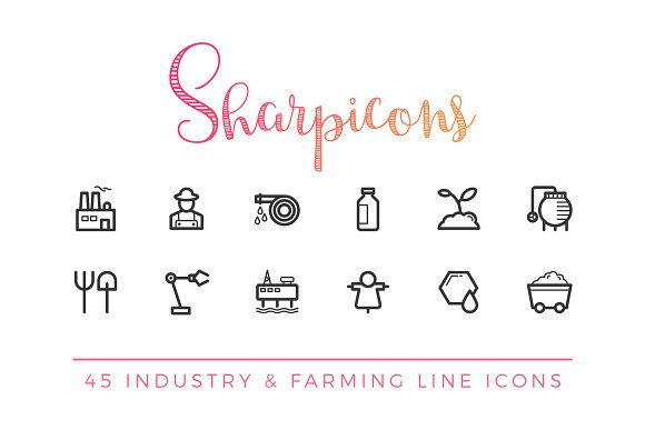 Industry & Farming Line Icons