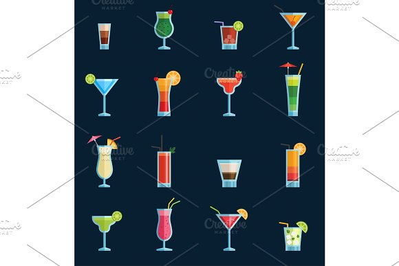 Alcoholic Cocktails Drinks Vector Fruit Cold Cosmopolitan B-52 Mohito Vodka Freshness Alcohol Collection And Party Sweet Tequila Night Club Recipes Illustration Isolated