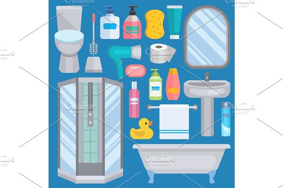 Bath Vector Equipment Icons Human Body Hygiene Hower Illustration For Bathroom Interior Hygiene Design Isolated Bath Symbols Of Mirror Toilet Sink Shower Soap Towel Faucet And Yellow Duck