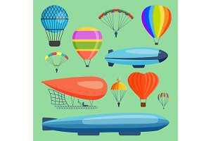 Aerostats air vector balloon transport sky hot fly adventure journey and old style balloon air travel transportation flight airship. Heart, rainbow, blue airship