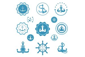 Vintage retro anchor vector icons and label sign of sea marine ocean graphic element nautical. Marine anchor emblem traditional design illustration