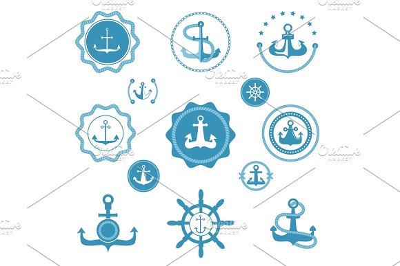 Vintage Retro Anchor Vector Icons And Label Sign Of Sea Marine Ocean Graphic Element Nautical Marine Anchor Emblem Traditional Design Illustration