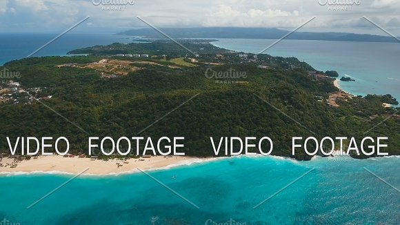 Aerial View Beautiful Beach On Tropical Island Boracay Island Philippines