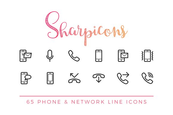 Phone & Network Line Icons in Icons