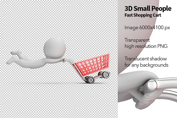 3D Small People Fast Shopping Cart
