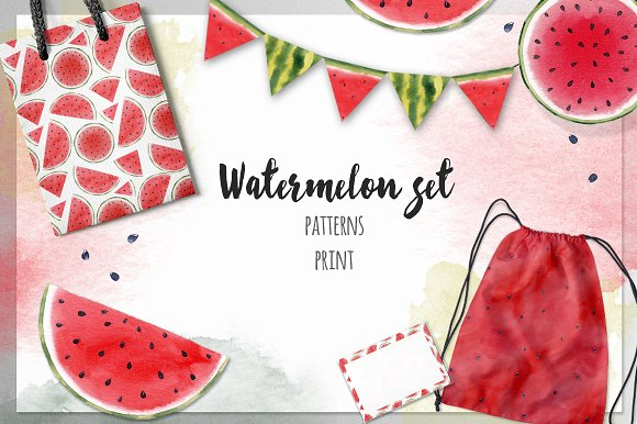 Watercolor Watermelon Set