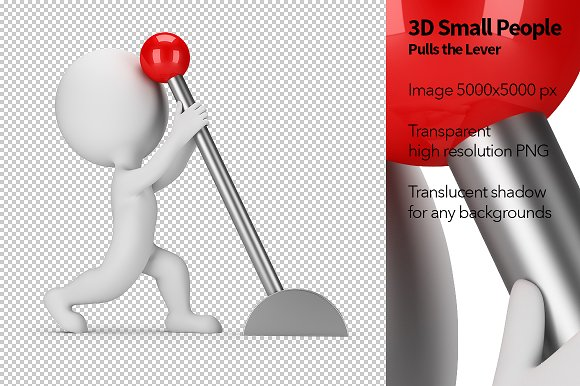 3D Small People Pulls The Lever