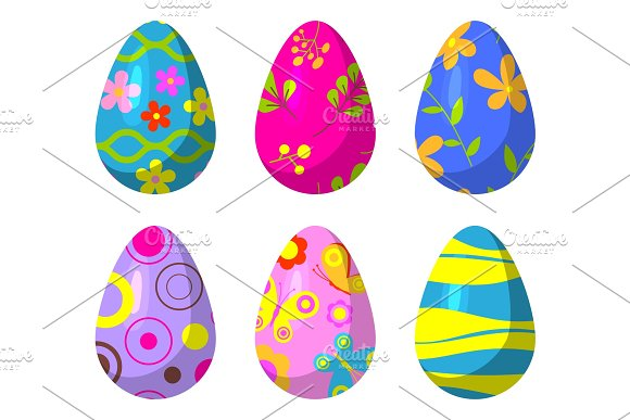 Easter Eggs Vector Painted With Spring Pattern Decoration Retro Multi Colored Vintage Ornament Organic Food Holiday Game Symbol Illustration