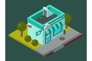 Vector pharmacy isometric building isolated city medical shop kiosk pharmacy isometric building design. Urban business construction design kiosk with parking zone isolated