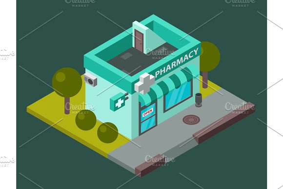 Vector Pharmacy Isometric Building Isolated City Medical Shop Kiosk Pharmacy Isometric Building Design Urban Business Construction Design Kiosk With Parking Zone Isolated