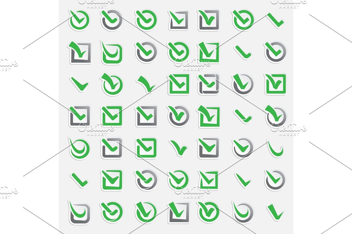 Checkbox vote marks vector icons set  Check vote sign choice yes symbol   Correct design right agreement voting form  Button question choose success