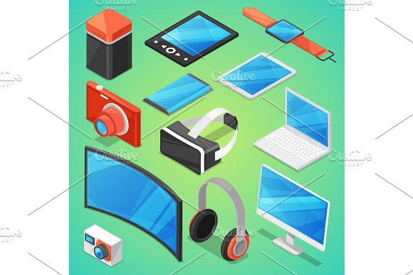 Gadget Vector Digital Device With Display Of Laptop Or Tablet And Camera Isometric Illustration Set Of Electronic Equipment Virtual Headset And Headphone Isolated On Background