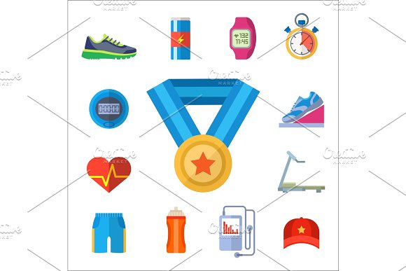 Fashion Dressing Run Sport Accessory Icons Vector Sneaker Activity Footwear Exercise Workout