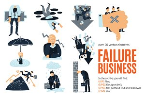 Business Failure Concepts Set