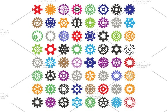 Gear Vector Mechanism Icons Isolated Illustration Mechanics Web Development Shape Work Cog Multicolor Gear Sign Engine Wheel Equipment Machinery Element Circle Turning Technical Tool