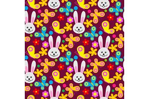 Easter rabbit character bunny seamless pattern background vector cute happy animal illustration decorative ornament nature flora decoration..