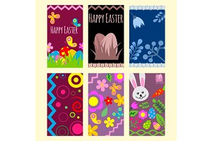 Easter eggs vector cards painted with spring pattern decoration retro multi colored vintage ornament organic food holiday game symbol illustration.