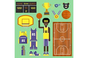 Basketball player sport vector elements professional set. Game competition basketball team recreation, running shoe and sports uniforms. Athletic court champion concept basketball equipment