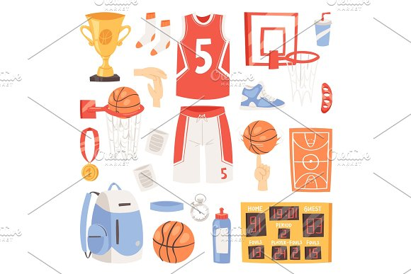 Basketball Vector Sportswear And Ball In Net Hoop On Basketball Court Illustration Set Of Sportsman Clothes For Gym Isolated On White Background