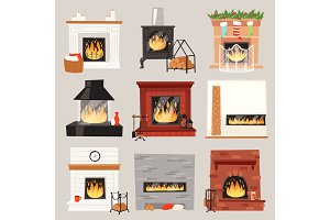 Fireplace vector warm fire place in interior of home on Christmas in winter to heat house illustration set of burning firewood on xmas isolated on white background