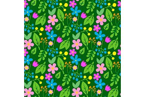 Flowers easter foliage vector seamless pattern background geometric flat style natural greeting holidays card illustration cartoon spring traditional greeting graphic.