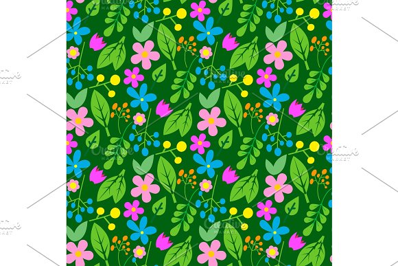 Flowers Easter Foliage Vector Seamless Pattern Background Geometric Flat Style Natural Greeting Holidays Card Illustration Cartoon Spring Traditional Greeting Graphic
