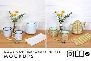 Enamel teapot and mugs mockup