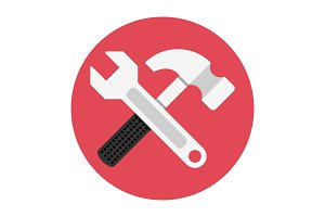 Wrench and hammer flat icon