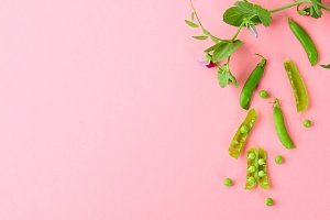 Peas, pods, leaves and pea flowers on a light pastel background. Floral layout.