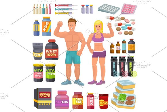 Bodybuilding Sport Food Vector Bodybuilders Supplement Proteine Power And Fitness Diet Nutrition For Bodybuild Workout Illustration Set Of Energy Shakers For Muscle Growth Isolated On White Background